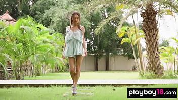 Skinny Ukranian Beauty Sensual Striptease In The Garden