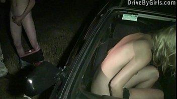 Cute Y. Blondie Public Sex Gang Bang Orgy Through A Car Window