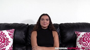Teen newcomer Ava receives cum in mouth after casting sex