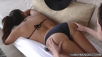 Big Ass MILF With Big Natural Tits Gets Her Pussy Massaged Before Getting Fucked Hardcore By Her Stepson