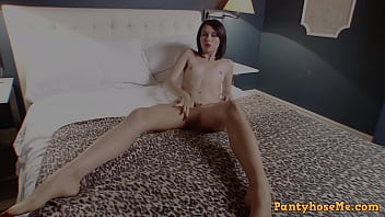 Rhyanna Lee Feeling Sexy and Horny In her Shiny Tan Pantyhose