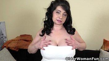 Granny Deborah lets you admire her big boobs and wet cunt