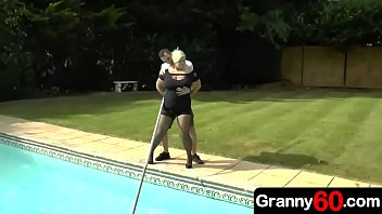 By lucky young boys porn Horny step grandma is watching her sexy young grandson work at pool and all she wants to do is fucked by him