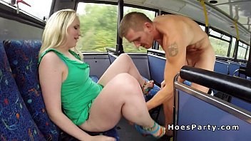 Threesome fucking party in public bus