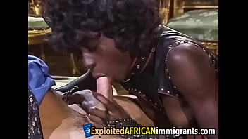 Black hottie double teamed by white guys