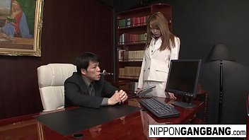Asian office hottie gets gangbanged by her colleagues 8 min