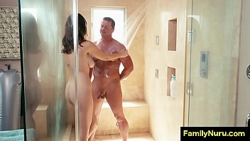 Daddy gets a nuru massage before wife come back from work