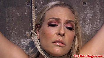 Busty blonde bdsm sub spanked and toyed