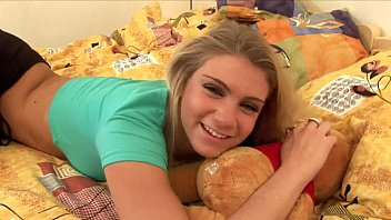 Sexy teen babe plays with dildo in the bedroom video