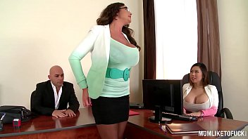 Tit fuck mom My busty executive mom emma butt sets up office threesome