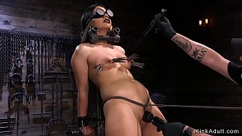 Tied up beauty shaved cunt vibed