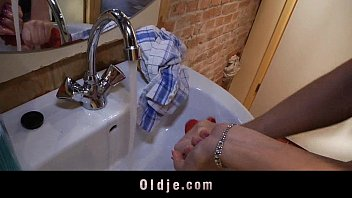 Young cleaning lady ass fucked in the men's restroom