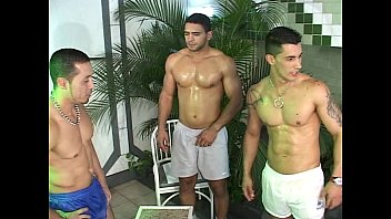 Gay Threesome In The Pool