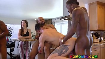 Bisexual husband and girlfriend - Pale guy gangbanged in front of her wife