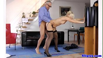 Young blonde sucks old mans cock at home thumbnail