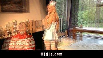 Pervert grandpas double penetrates young blonde 6 min