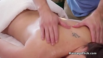 Complementary sex massage for busty MILF hotel guest