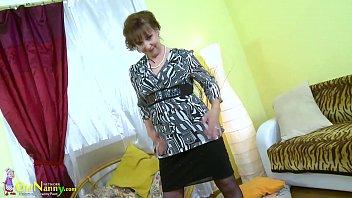 OldNannY Hot Horny Grandma Seductive Striptease 8 min
