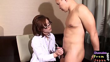 Ladyboy doctor facialized after analsex