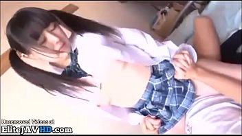 Japanese cute 18yo girl in uniform meets her fan