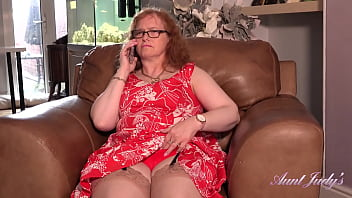 AuntJudys - Curvy 53yr-old Redhead Fiona has Phone Sex in Stockings & Garters
