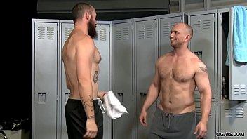 Take turns assfucking in the locker room