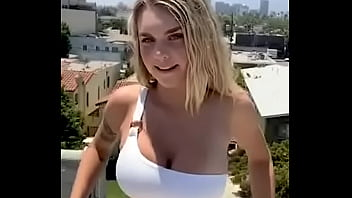 Big Tit Teen Almost Caught in Risky Rooftop Public Masturbation