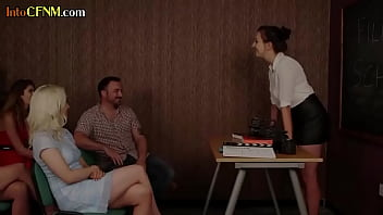 CFNM British babes blowing dick at film school
