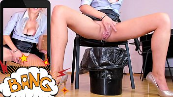Blonde secretary MILF masturbating and squirting in the trash can at work | LIVE HERE: katehaven.hotcams.com