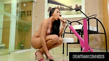 Tgirl Eduarda Farias Bestrides a Machine Until Her Small Shecock Cums Hard