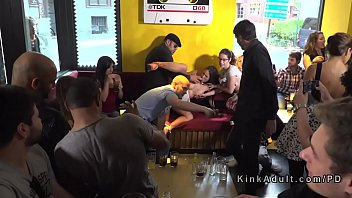Anal gangbang and pussy lick in public bar