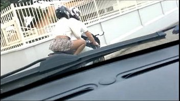 Wife walking in a skirt and no panties on the motorcycle