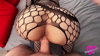 Fishnet Blonde Sensual Sucks Big Dick and Takes Hard Doggy Fuck, Cum in Mouth
