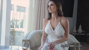 Slutty busty housewife rides BBC on top