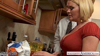 Chesty wife Krissy Lynn slurping cum in the kit...