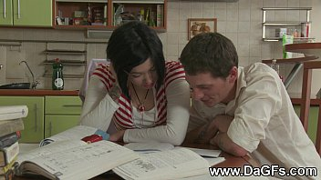 Schoolgirl creampied while doing homework