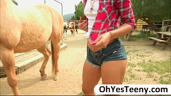 Teen cowgirl Gabriella Ford rides a massive dick and receives cum