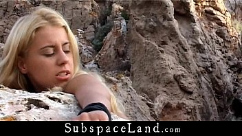 Trifecta naked bound - Busty blonde bound by a stone and fucked in doggie