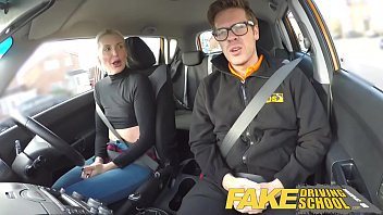 Fake Driving School lesson ends in suprise squirting orgasm and creampie thumbnail