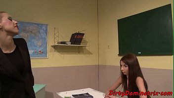 Bondaged sub teen punished by lezdom teacher