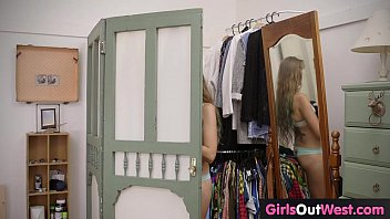 Girls Out West - Small titted teen masturbates on the bed 6 min