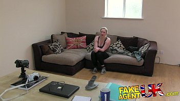 FakeAgentUK Tight amateur pussy causes agents cock to blow 10 min
