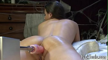 Fucking using machine Busty amateur drilled by dildo machine