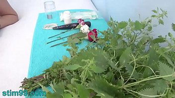 Extreme Female Inserting Nettles Into Cervix And Rod Flowers