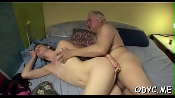 Concupiscent young amateur babe gives old dude a steamy blowjob