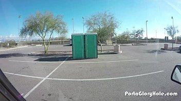 Porta Gloryhole Chubby slut in public GH