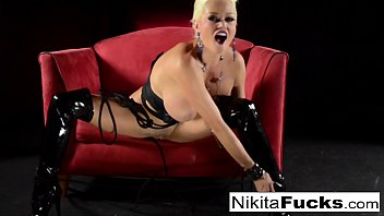 Russian Milf Nikita Von James does bondage solo with a hitachi