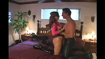 Amazing babe in pink and leather lingerie Gia Jordan takes strong dick in her tight asshole