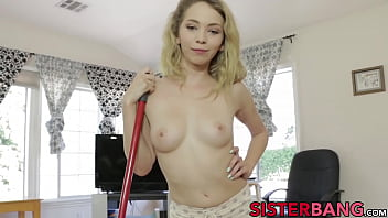 Tiny hottie Angel Smalls fucked and fed with stepbros cum