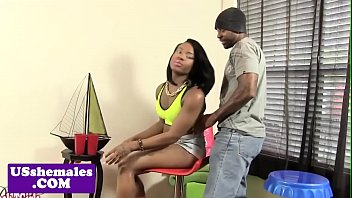 Ebony shemale drilled after erotic foreplay